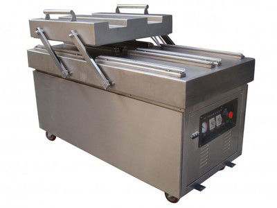 Commercial Vacuum Packing Machine Double Flat Chamber Full Automatic 100 Bags Per Minute